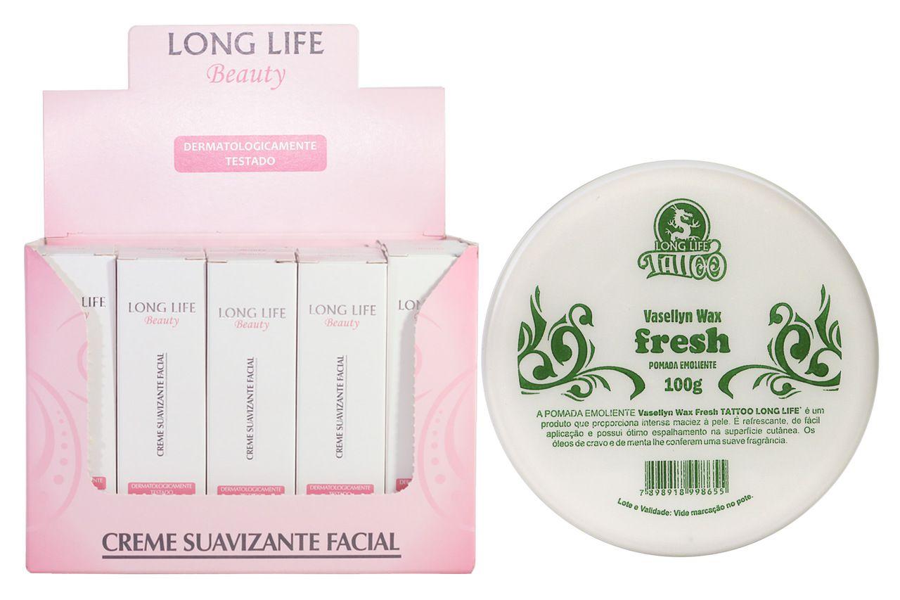 Creme Suavizante Facial Beauty 12g - Caixa com 20 unds + Vasellyn Wax Fresh 100g