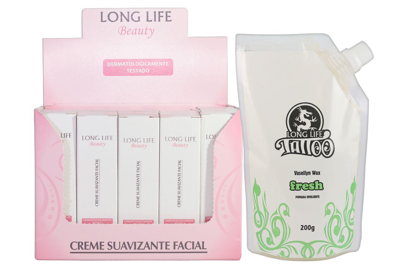 Creme Suavizante Facial Beauty 12g - Caixa com 20 unds + Vasellyn Wax Fresh 200g