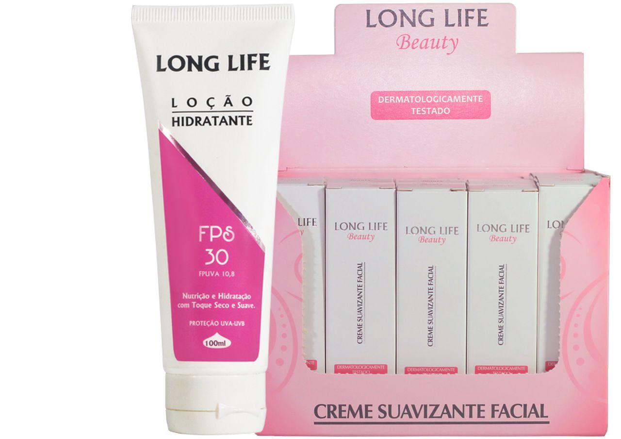 Creme Suavizante Facial Beauty 12g - Caixa com 20 unds + Loção Hidratante FPS 30 100 ml