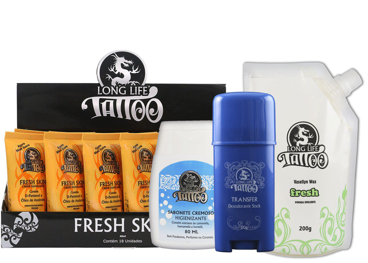 Fresh Skin 40 ml - Creme Suavizante (18un) +  Sabonete Cremoso 80 ml + Vasellyn Fresh 200g + Transfer Stick 50g