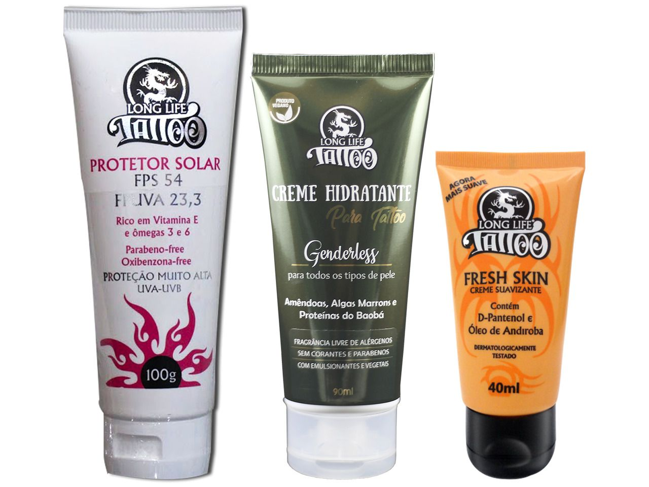 Kit de Cuidados (Fresh Skin Creme 40 ml + Hidratante para Tattoo Genderless + Protetor Solar FPS 54)