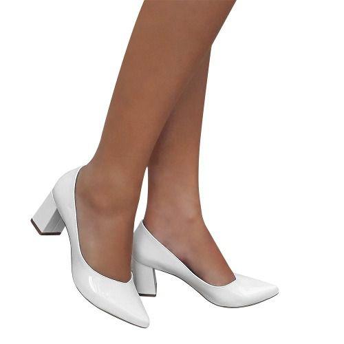 Sapato Scarpin Branco Feminino Bico Fino Salto Grosso