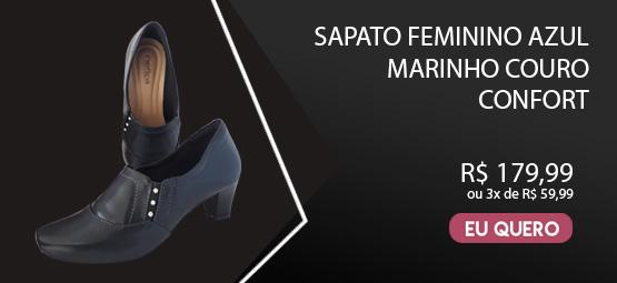 Sapato Scarpin Feminino Azul Marinho Enfermagem Couro Neftali NR32 Confort