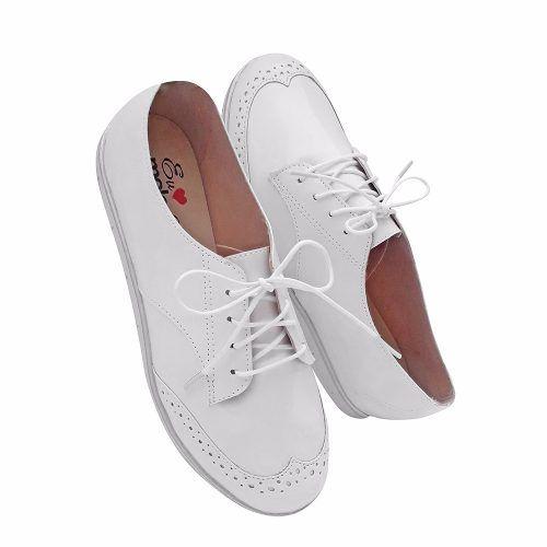 Sapato Oxford Feminino Branco Verniz Casual Enfermagem Macio