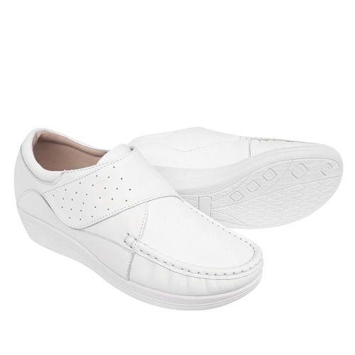 Sapato Branco Couro Enfermagem Clinica Linha Conforto Macio