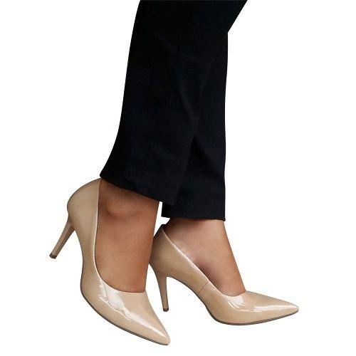 Sapato Scarpin Nude Bege Creme Verniz Salto Alto Confortavel