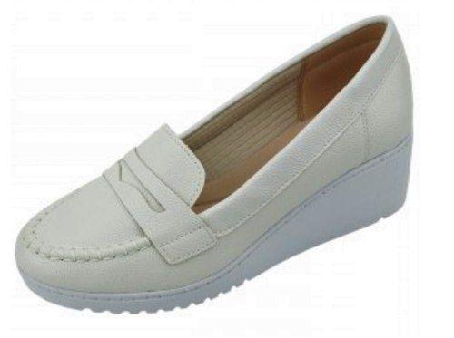 Sapato Branco Enfermagem Mocassim Sola Alta Anabela Azaleia