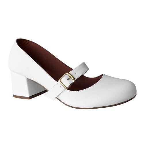 Sapato Boneca Branco Noiva Enfermagem Salto Retro Baixo