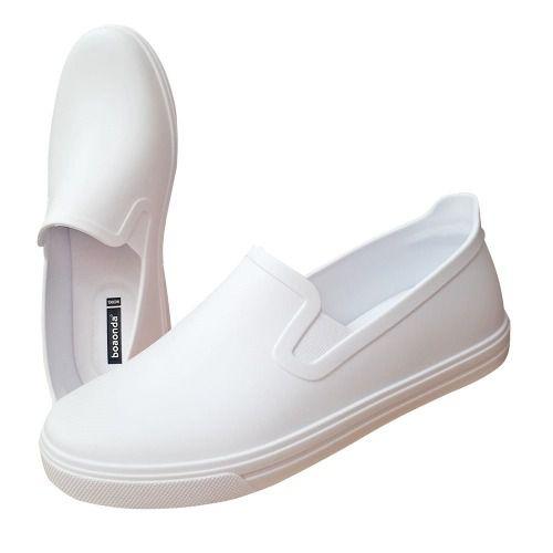 Sapato Branco Fechado Macio Profissional Enfermagem Cozinha