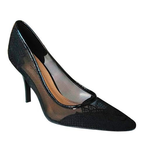 Sapato Feminino Preto Salto Alto Medio Scarpin Telinha