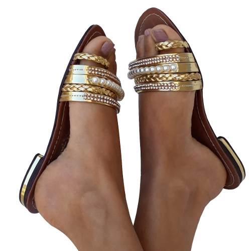 Sandalia Rasteira Verao Dourada Com Strass E Perolas