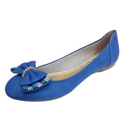 Sapatilha Feminina Azul Laço Strass Pedra Bico Redondo