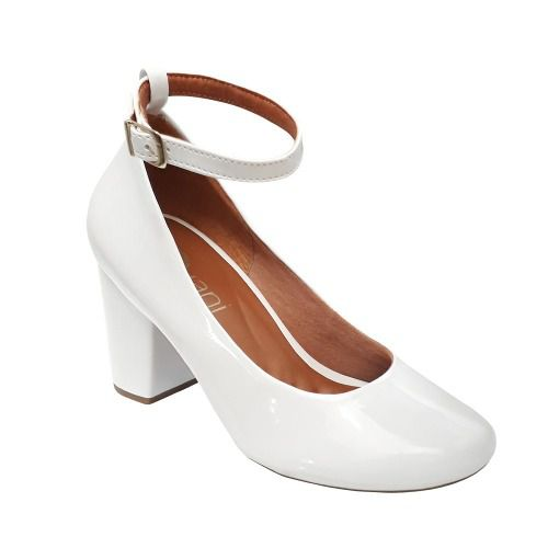 Sapato Boneca Noiva Branco Verniz Social Salto Medio Alto