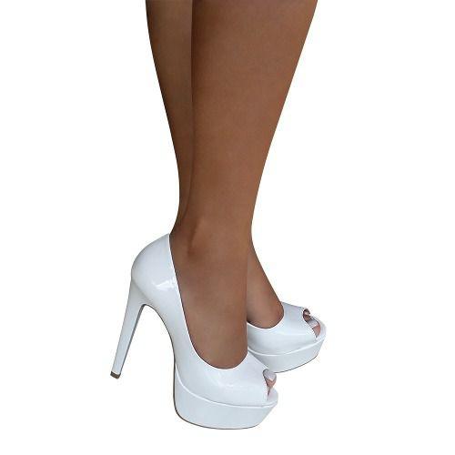 45cd0522e Sapato Branco Peep Toe Meia Pata Salto Alto Noiva Debutante Festa 15 anos -  Duani ...