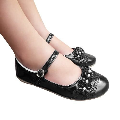 Sapato Sapatilha Infantil Boneca Preta Verniz Menina Daminha Festa