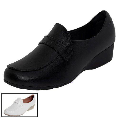 f3c383e950 Sapato Preto Anabela Fechado Enfermagem Mocassim Feminino - Duani ...