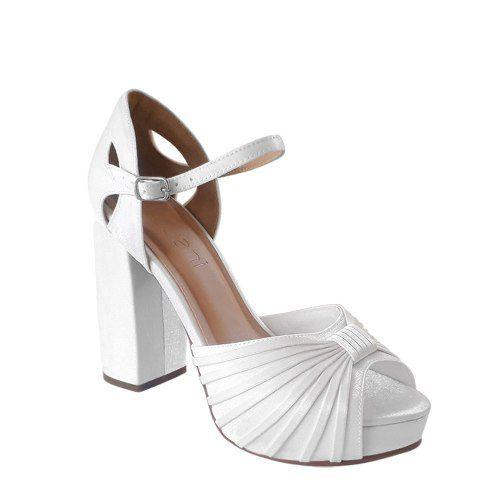 Sandalia Branca Noiva Cetim Meia Pata Salto Alto Branco Casamento