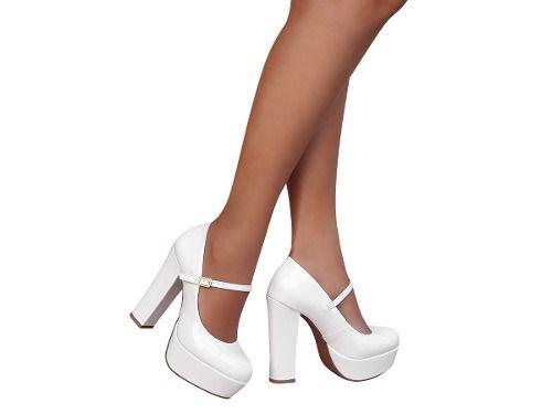Sapato De Noiva Boneca Branco Meia Pata Salto Alto Grosso