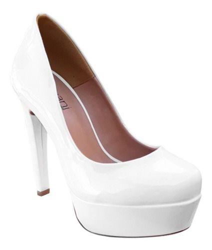 Sapato Boneca Noiva Debutante Branco Meia Pata Salto Alto