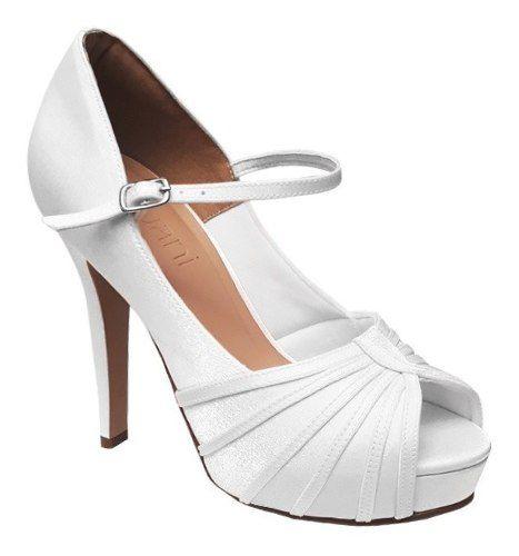 Sapato De Noiva Boneca Branco Cetim Meia Pata Salto Alto