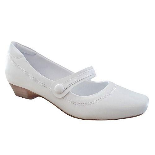 Sapato Branco Boneca Enfermagem Salto Baixo Couro Neftali