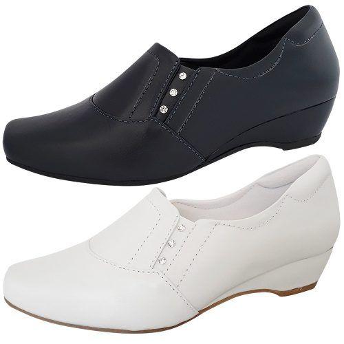 Sapato Branco ou Marinho Enfermagem Fechado Salto Baixo Couro