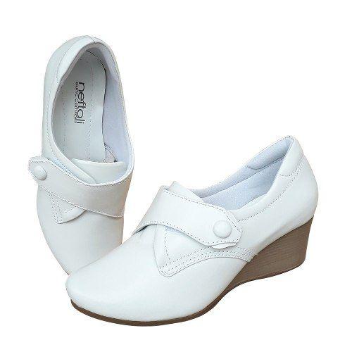 Sapato Feminino Branco Enfermagem Anabela Couro Neftali