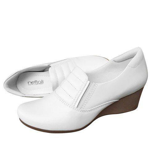 Sapato Feminino Branco Couro Mocassim Enfermagem Neftali