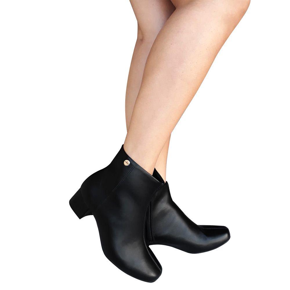 Bota Feminina Preta Modare Conforto Salto Baixo Cano Curto