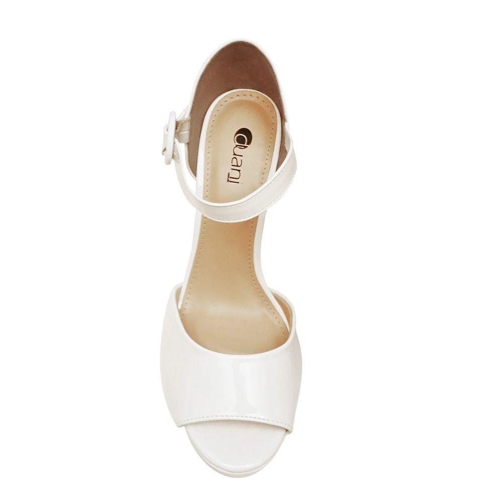 Sandalia Branca Meia Pata Salto Alto Noiva Formatura Madrinha Debutante Reveillón