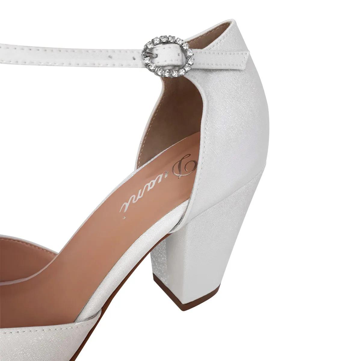Sandalia Branca Noiva Casamento Salto Medio Grosso confortavel