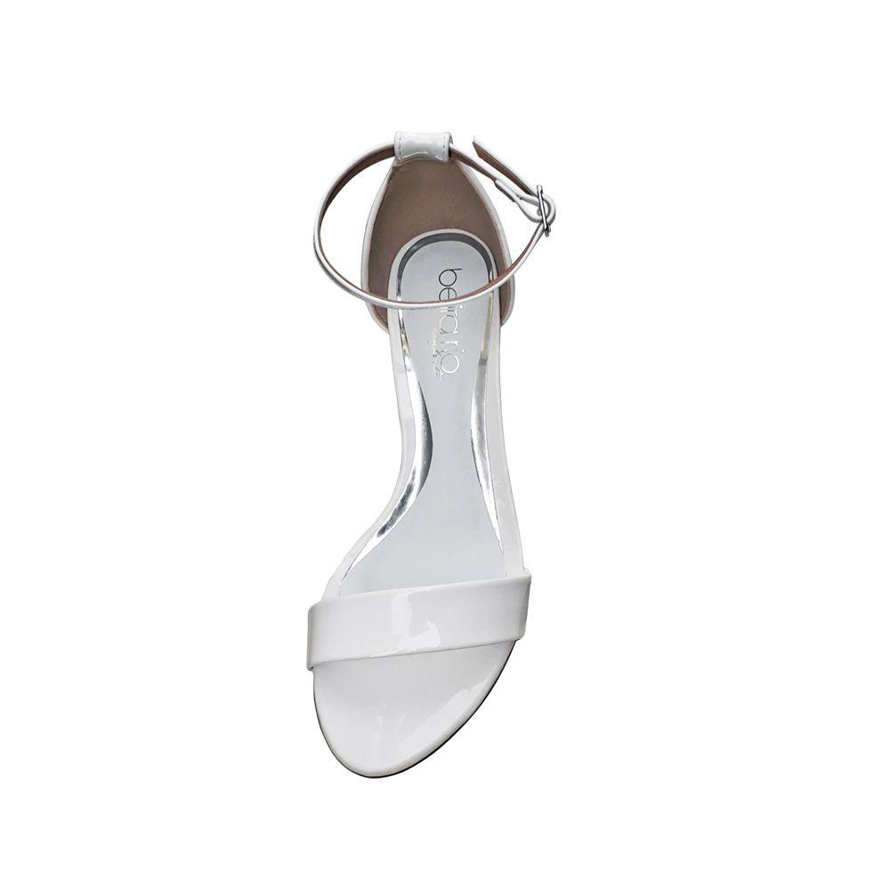 Sandália Branca Verniz Salto Alto Fino