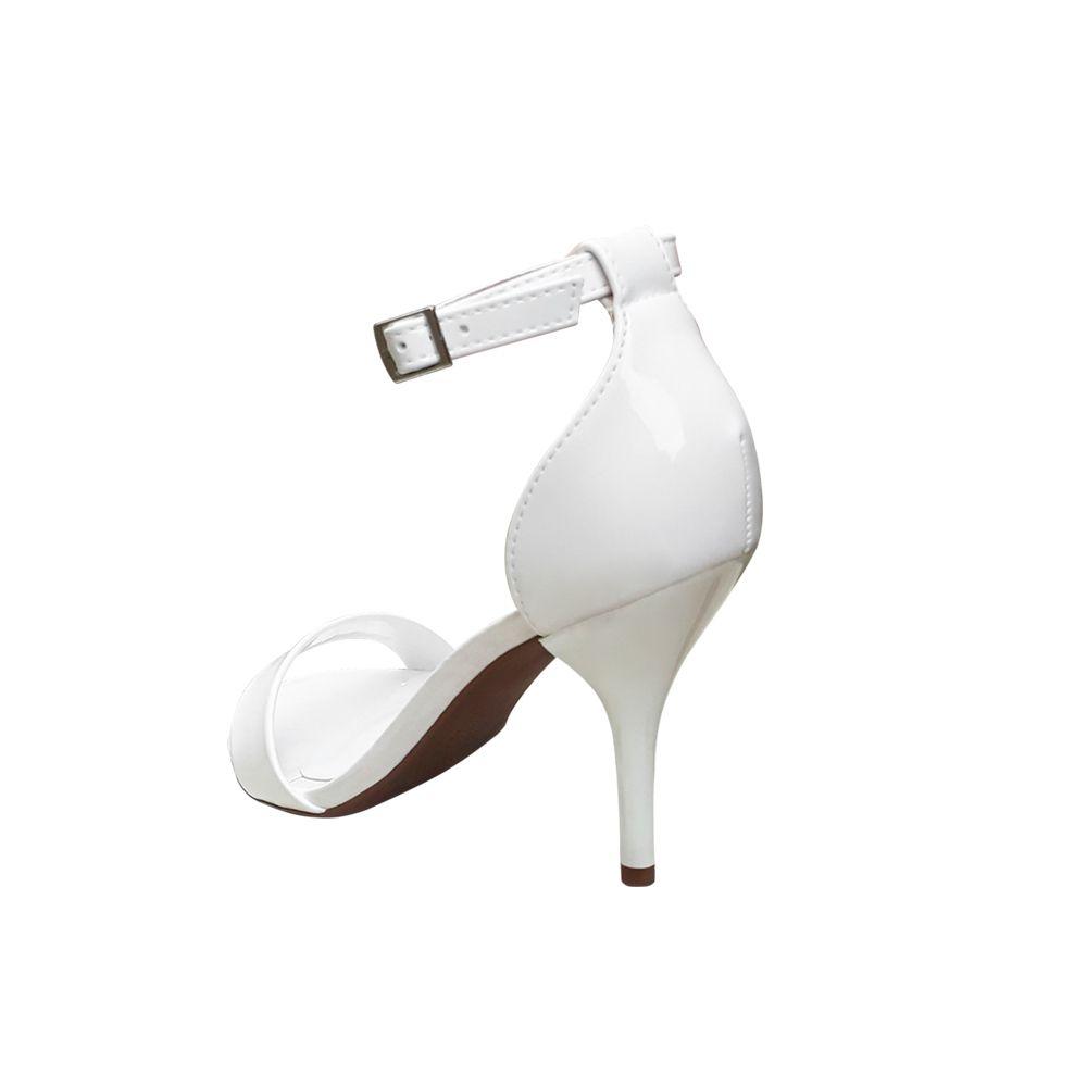 Sandalia Branca Verniz Salto Alto Fino