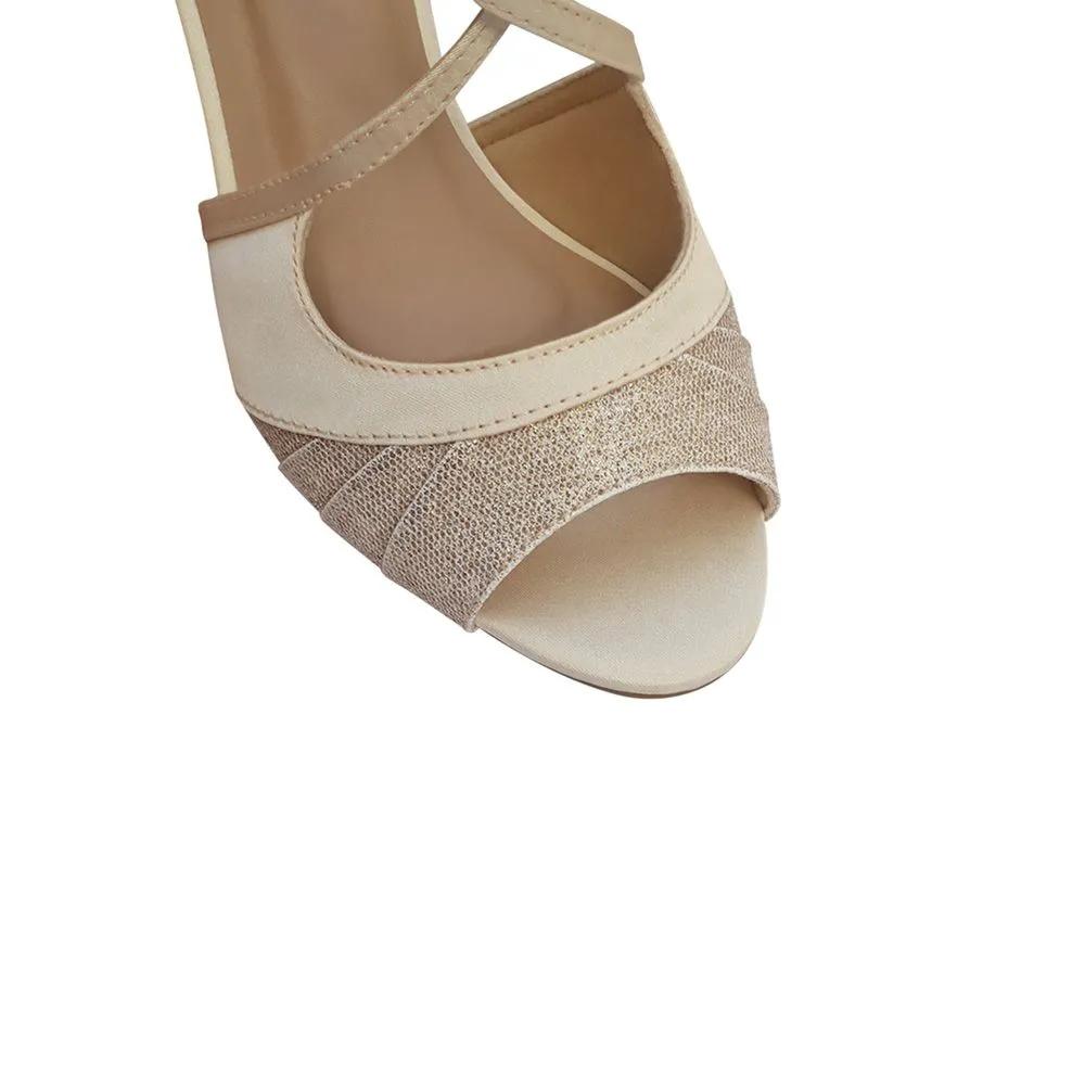Sandália de Dança Festa Noiva Madrinha salto Baixo Confortável