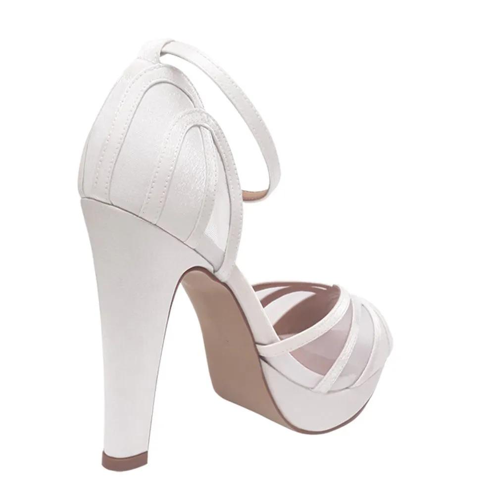 Sandalia de Noiva Branca Cetim Telinha Transparente Salto Alto Grosso