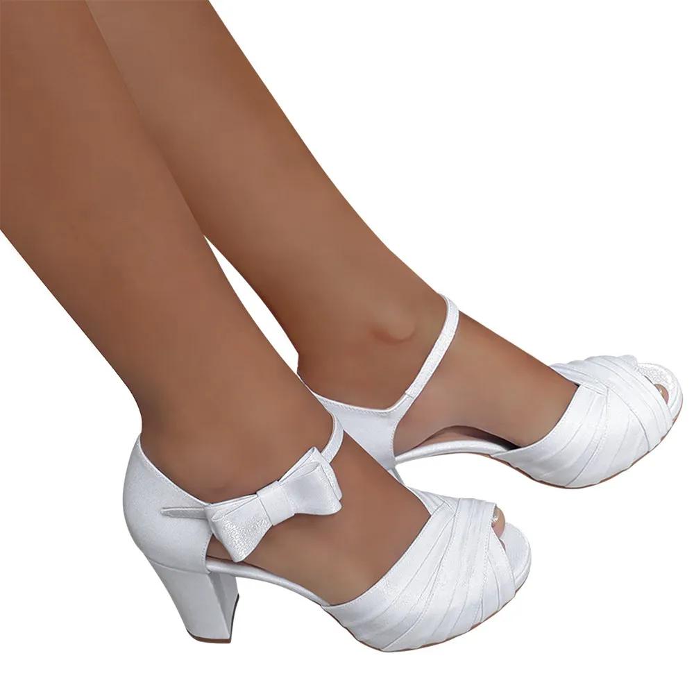 Sandalia de Noiva Branca Meia Pata Salto Alto Grosso