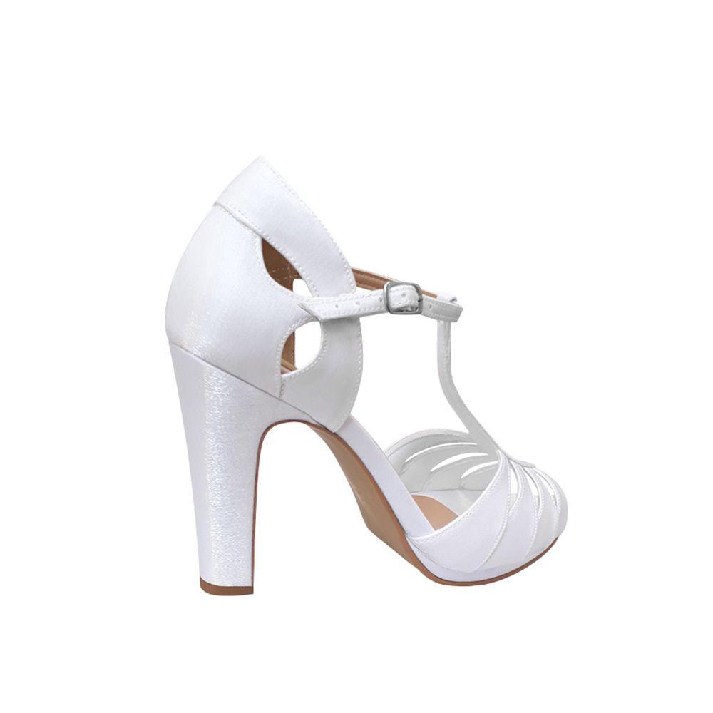 Sandalia De Noiva Debutante Branco Cetim Salto Alto Grosso