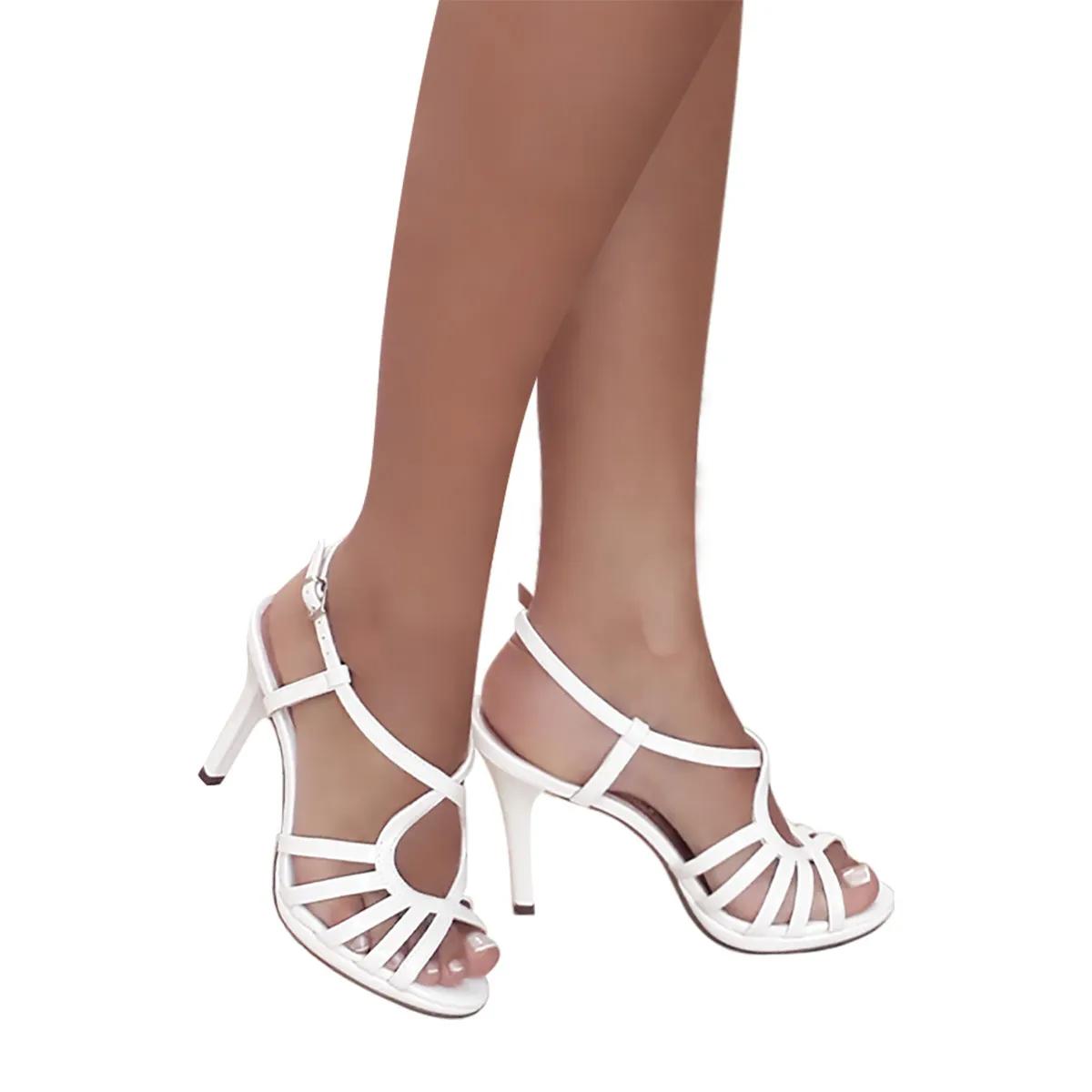 Sandalia Noiva Branca Tiras Meia Pata Salto Alto