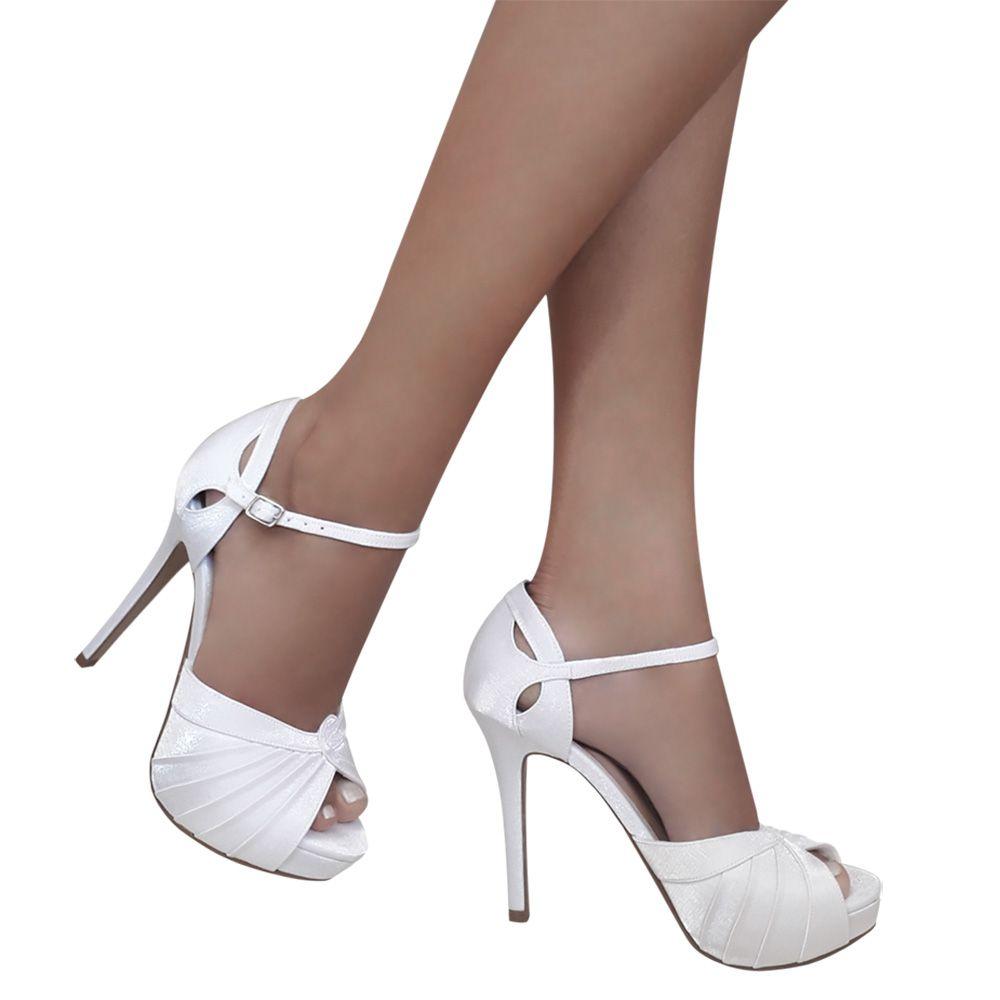 Sandalia Noiva Debutante Branco Cetim Salto Alto