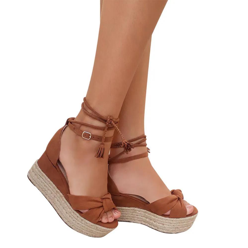 Sandalia Salto Plataforma Corda Amarrar Na Perna Caramelo