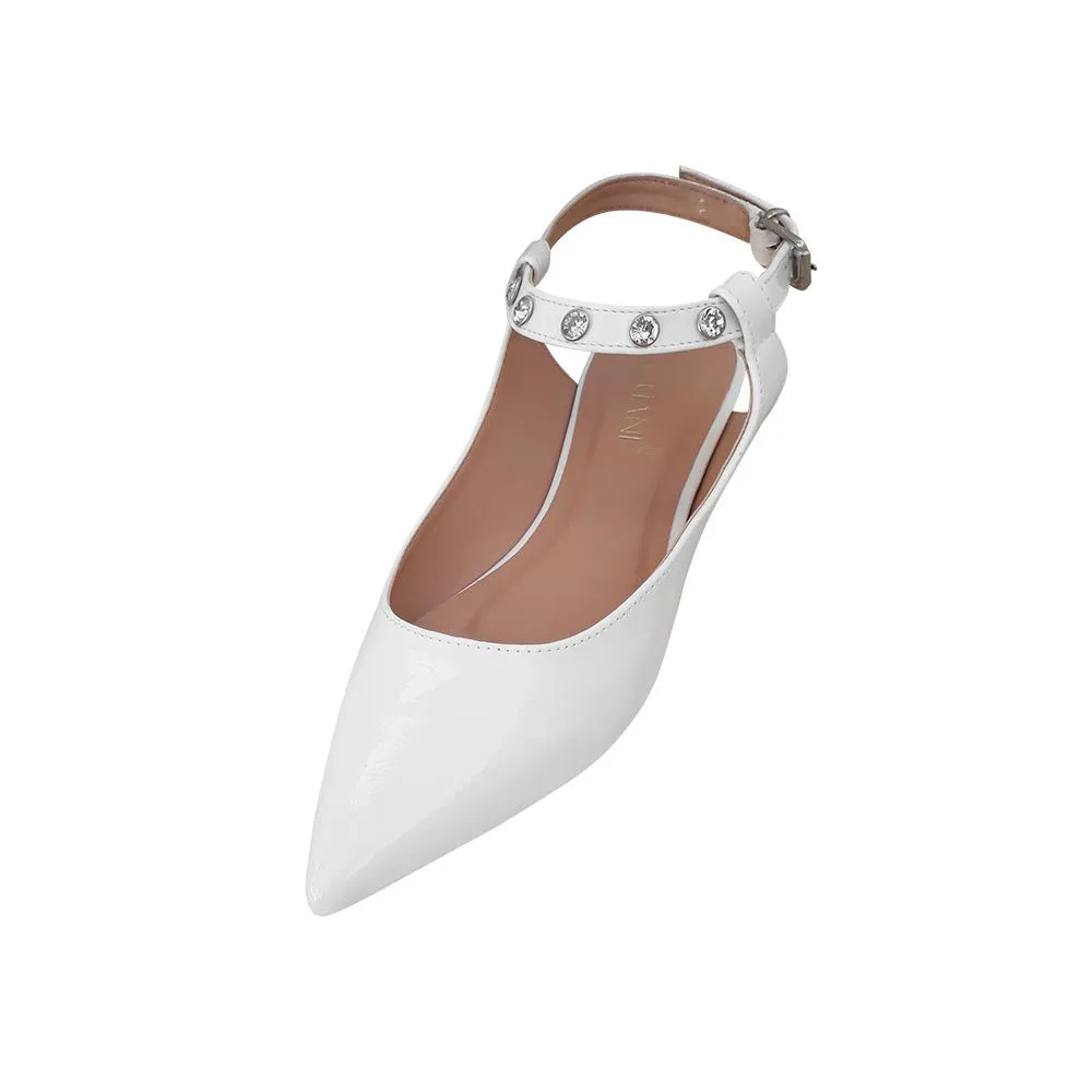 Sapato Baixo Sapatilha Feminina Branca Noiva Comfort Pedraria