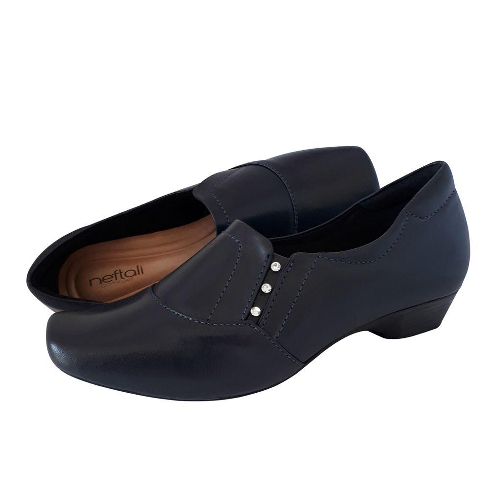 Sapato Azul Marinho Branco Ou Preto Enfermagem Couro Salto Baixo