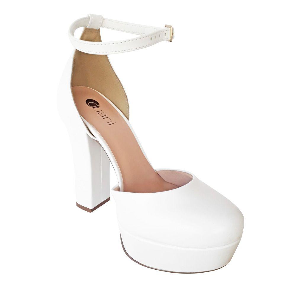 Sapato Boneca Branco Noiva Casamento Meia Pata Salto Alto