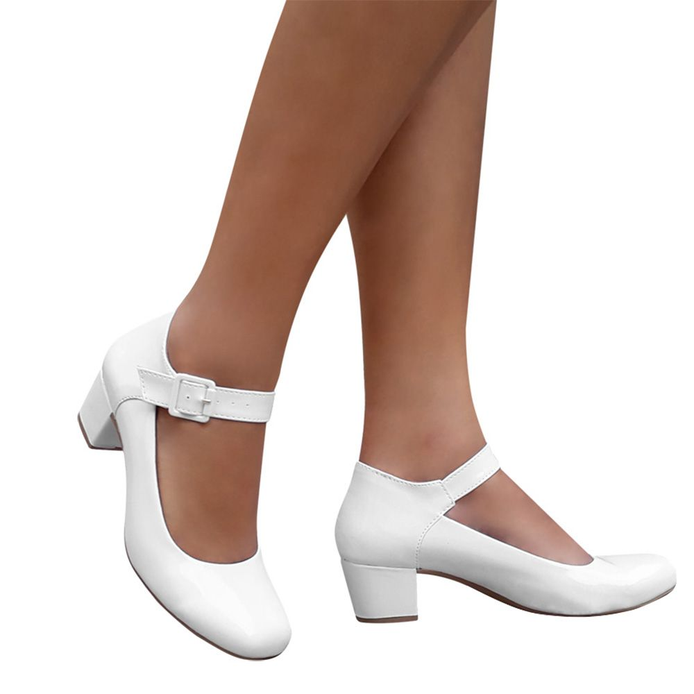 Sapato Boneca Branco Preto Nude Verniz Enfermagem Salto Grosso