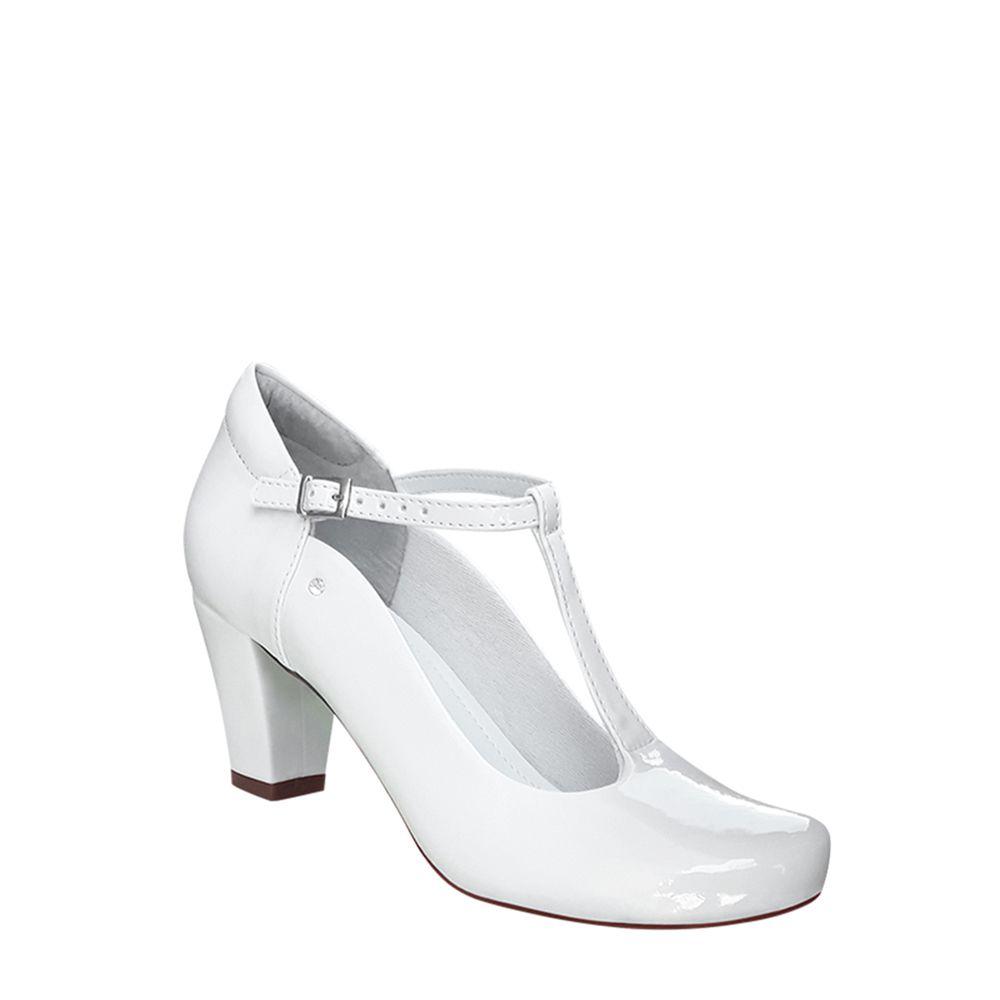 Sapato Boneca Branco Verniz Salto Grosso