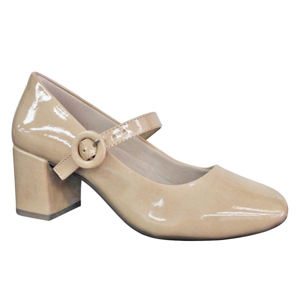 Sapato Boneca Nude Verniz Retrô Vintage Salto Grosso Quadrado