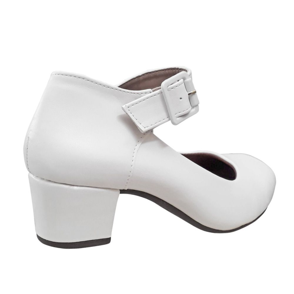 Sapato Boneca Branco Fosco Noiva Enfermagem Salto Baixo