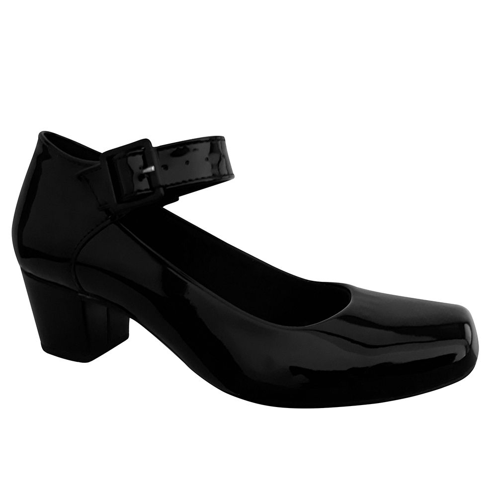 Sapato Boneca Preto Verniz Salto Baixo Grosso Duani