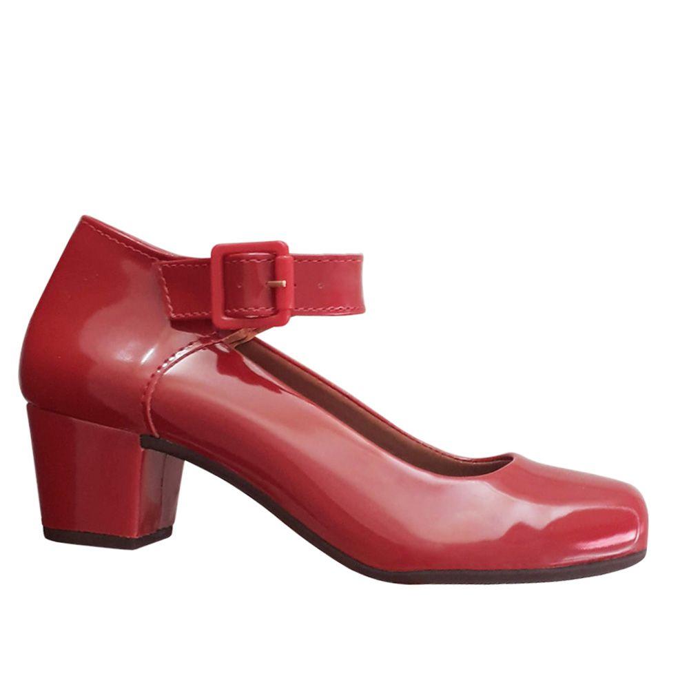 Sapato Boneca Vermelho Verniz Salto Baixo Grosso Duani