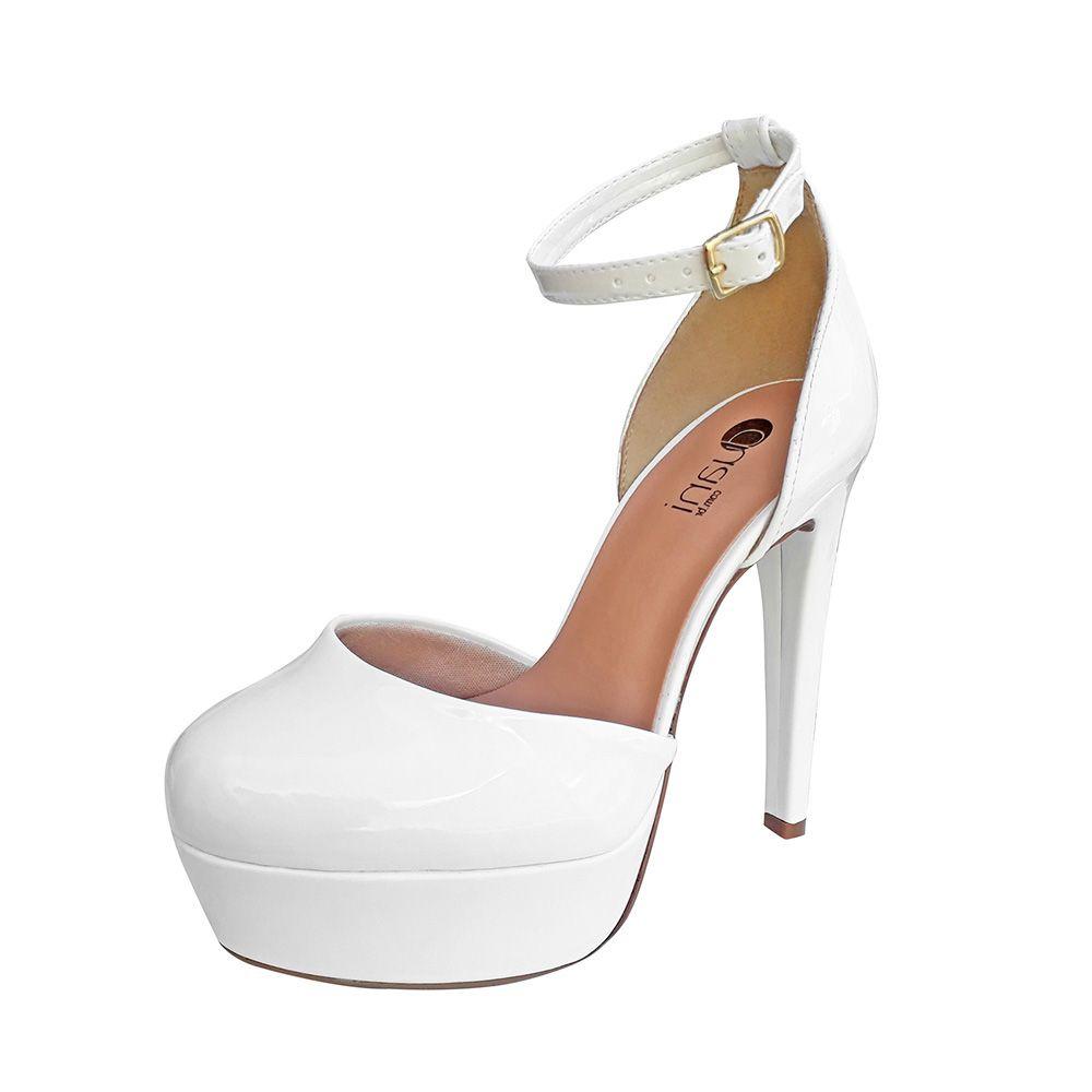 Sapato Branco Boneca Casamento Noiva Salto Alto Meia Pata